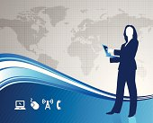 Young business woman with world map in the background