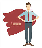 Young businessman in flat style. Superhero.