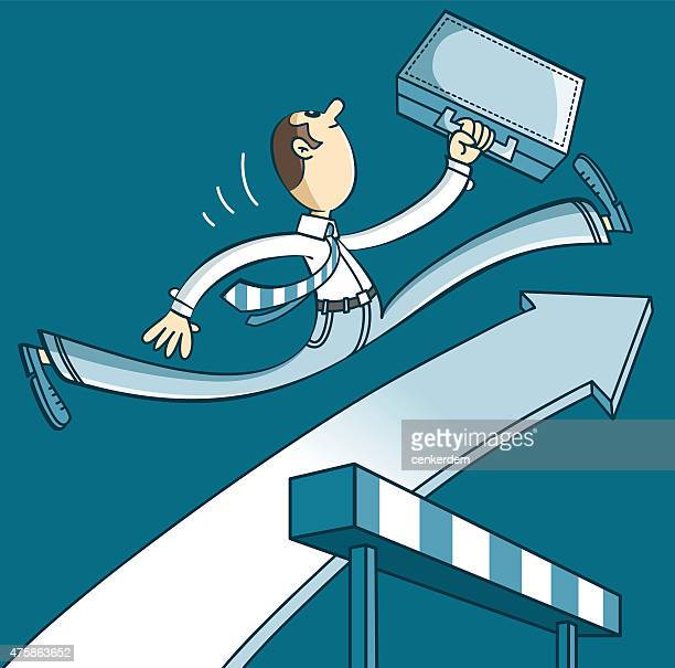 young businessman jumping - conversion sport stock illustrations
