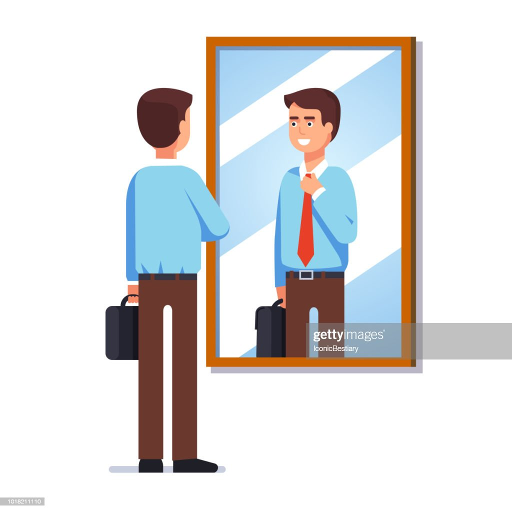 Young businessman looking at his reflection in wall mirror fixing necktie getting ready for work. Flat vector clipart illustration.