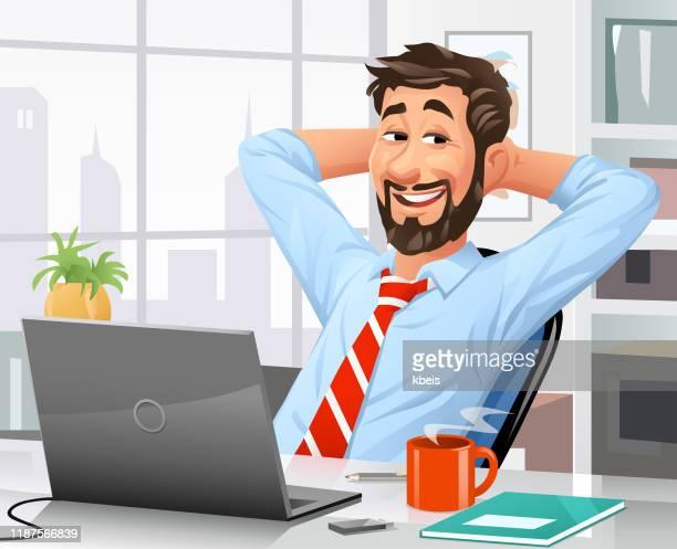 illustrazioni stock, clip art, cartoni animati e icone di tendenza di giovane uomo d'affari rilassante sulla sedia dell'ufficio - colletti bianchi