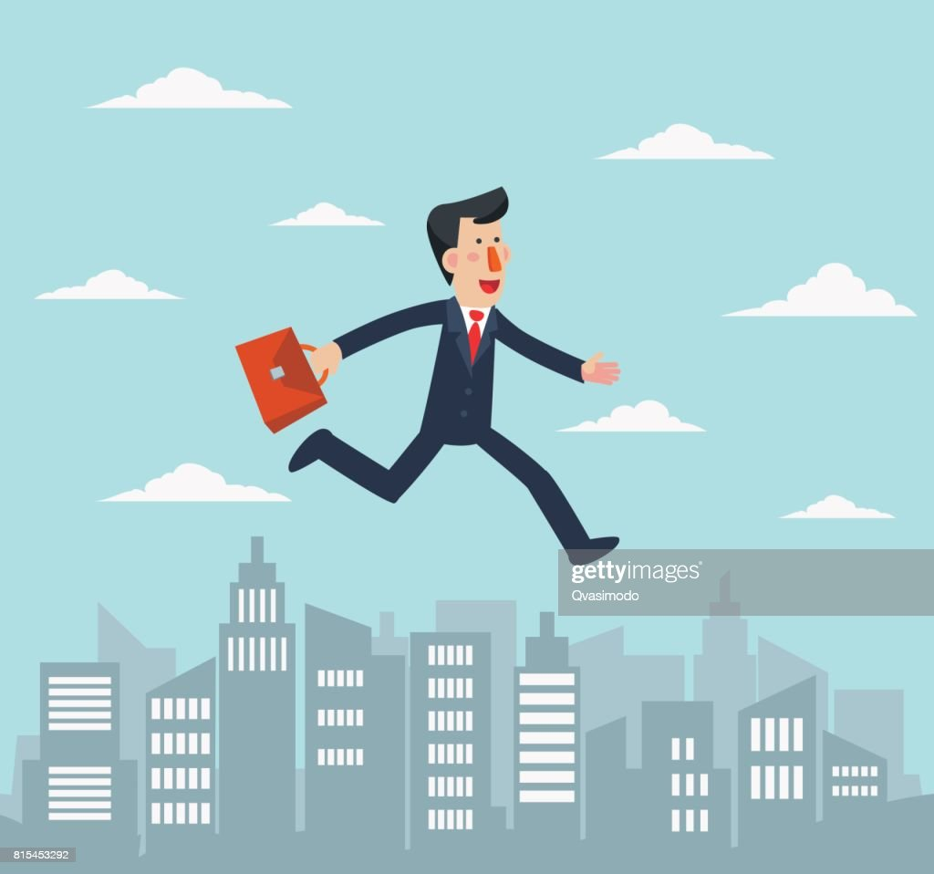 Young businessman running over the city