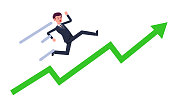 Young businessman running up with green growing graph vector.Cartoon business man rise with line.Success and business goal concept