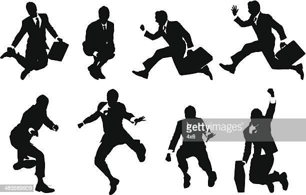 ilustraciones, imágenes clip art, dibujos animados e iconos de stock de jóvenes empresarios saltar en el aire - empresario