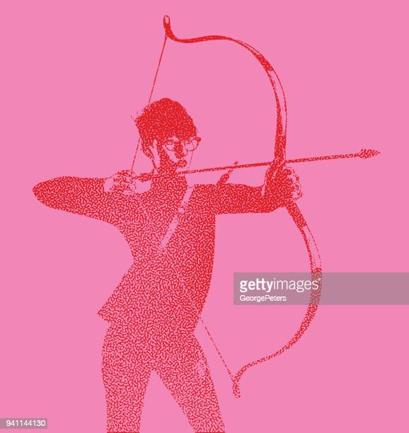 young businesswoman aiming at target goals - me too social movement stock illustrations, clip art, cartoons, & icons