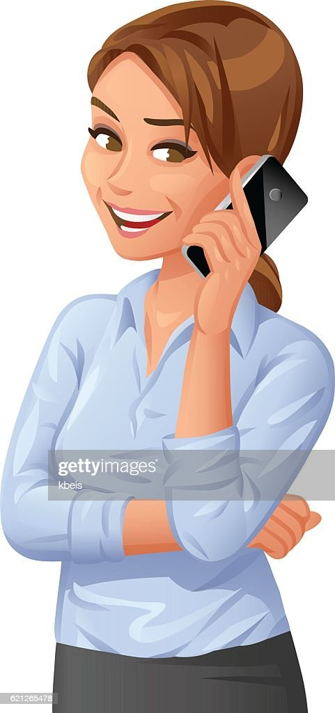 Young Businesswoman Talking On Mobile Phone : stock illustration