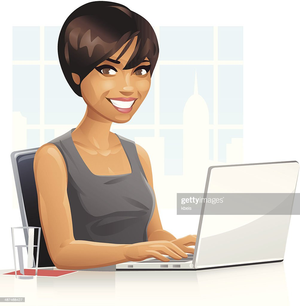 Young Businesswoman Using Laptop : stock illustration