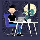 Young busy character working in the office at night. Overtime. Deadline. Modern lifestyle. Spending all the time at work. Conceptual illustration, clip art. Flat editable vector