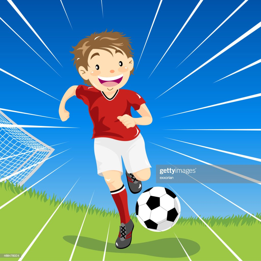 Young cartoon boy dribbles soccer ball downfield