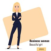 Young cartoon businesswoman standing  with crossed hands. Beautiful blonde girl in office clothes presenting business plan, startup. Fashionable modern lady. Vector illustration. EPS10
