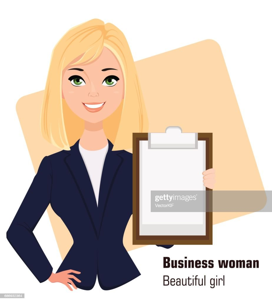 Young cartoon businesswoman wearing business style clothing. Fashionable blond modern lady. Beautiful girl holding clipboard. Vector illustration. EPS10