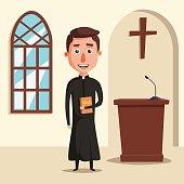 Young catholic priest. Cartoon vector illustration.
