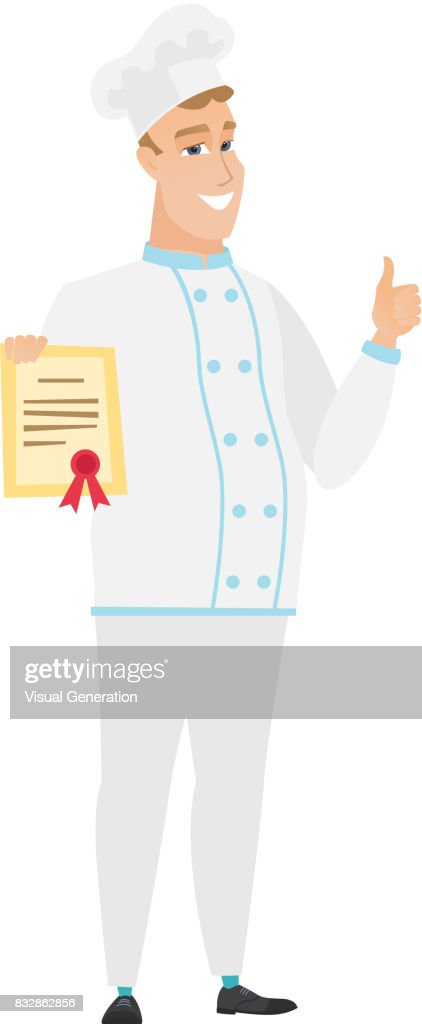 Young caucasian chef cook holding a certificate