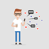 Young character checking the pop up notifications on the mobile phone. Millennial lifestyle. Internet. Flat editable vector illustration, clip art