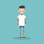 Young character covered with a tattoo pattern. Subculture. Flat editable vector illustration, clip art