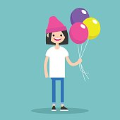 Young character holding a bunch of colorful balloons