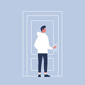 Young character holding a door knob. Entering the building. Flat editable vector illustration, clip art
