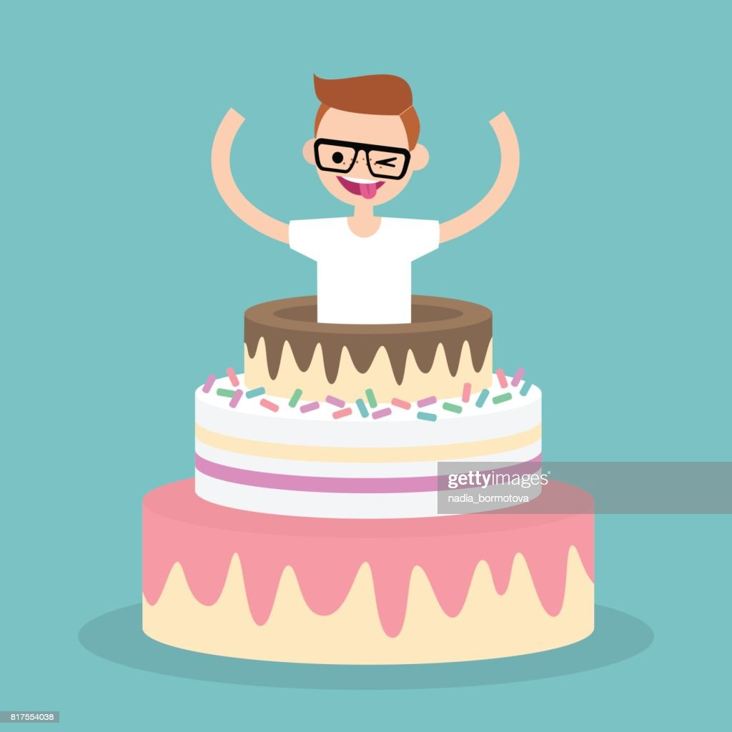 Young character jumping out of a cake / flat editable vector illustration, clip art