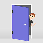 Young character peeking out from behind the door. Hello or Goodbye hand waving. Welcome home. Flat editable vector illustration, clip art