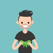 Young character playing with a slime / flat editable vector illustration, clip art