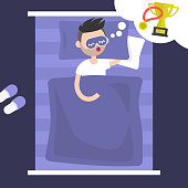 Young character seeing a dream of victory. Golden cup and medal. Desire to win. Conceptual illustration. Flat editable vector illustration, clip art