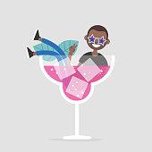 Cartoon Drunk on A Pink Elephant Stock Vector - FreeImages.com