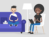 Young character visiting a psychologist doctor. Mental health care. Flat illustration. Patient sitting on a sofa and hugging a pillow. Young friendly doctor listening to a patient and making notes