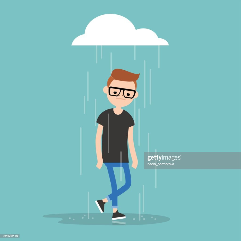 Young character weeping in the rain / flat editable vector illustration, clip art