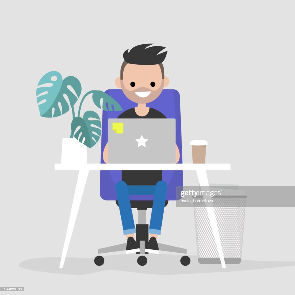 Young character working on the laptop in the office. Interior. Daily life. Millennials at work. Flat editable vector illustration, clip art