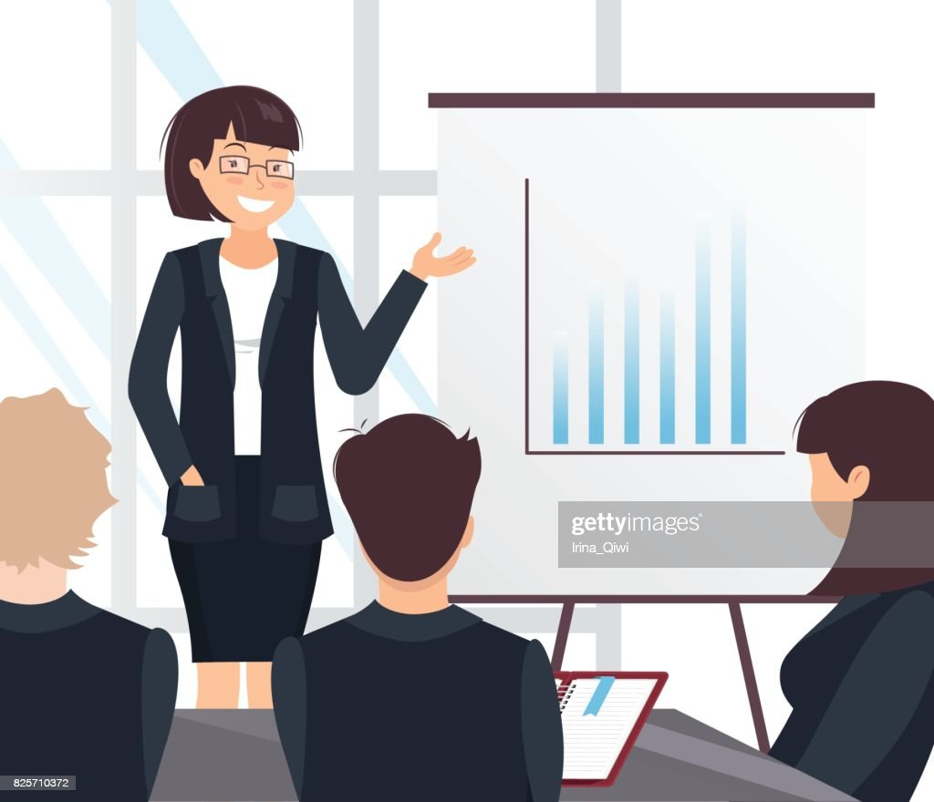 Young cheerful business woman delivering a presentation to her colleagues in office.