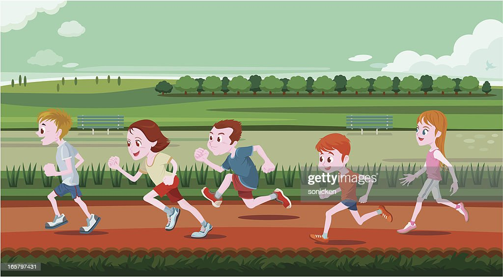 Young children running in out door