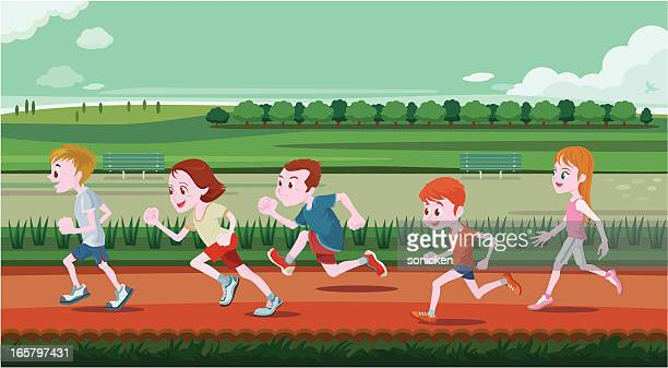 young children running in out door - childhood stock illustrations