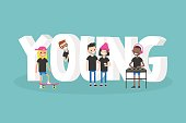 Young. Conceptual illustrated 3d sign