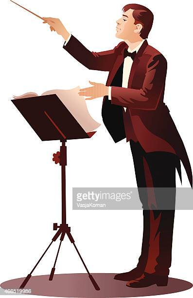 ilustraciones, imágenes clip art, dibujos animados e iconos de stock de young conductor la realización de la orquesta - director de orquesta