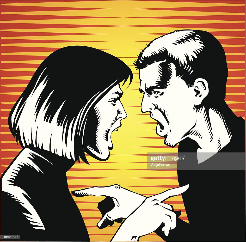 Young Couple Arguing and Screaming at Each Other : stock illustration