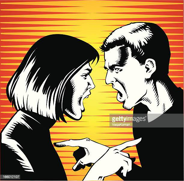 young couple arguing and screaming at each other - office politics stock illustrations, clip art, cartoons, & icons
