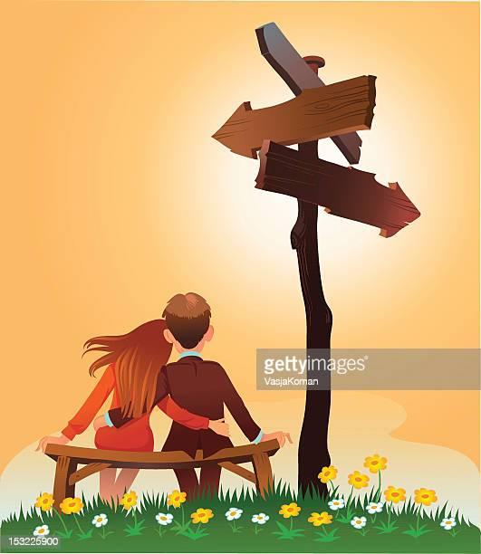 ilustrações, clipart, desenhos animados e ícones de jovem casal contemplando o seu futuro, sob uma placa direcional - incerteza