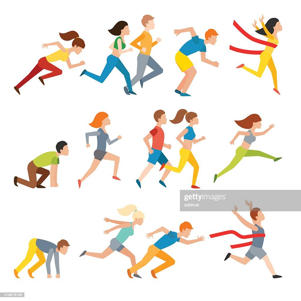 Young couple group running marathon run man sprinting vector