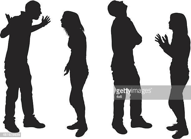 young couple having an argument - anger stock illustrations