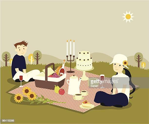 young couple having romantic picnic - picnic blanket stock illustrations, clip art, cartoons, & icons