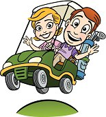 Young Couple In Golf Cart
