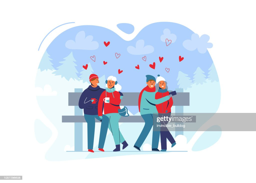 Young Couple in Love in Winter Clothes on Snowy Landscape. Happy Man and Woman Together in Park with Christmas Trees. Vector illustration