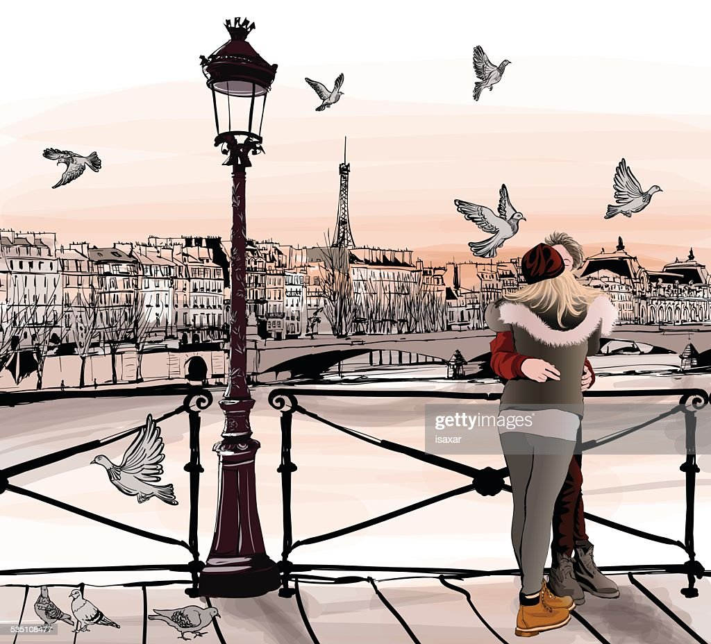 Young couple in love on Pont des arts in Paris