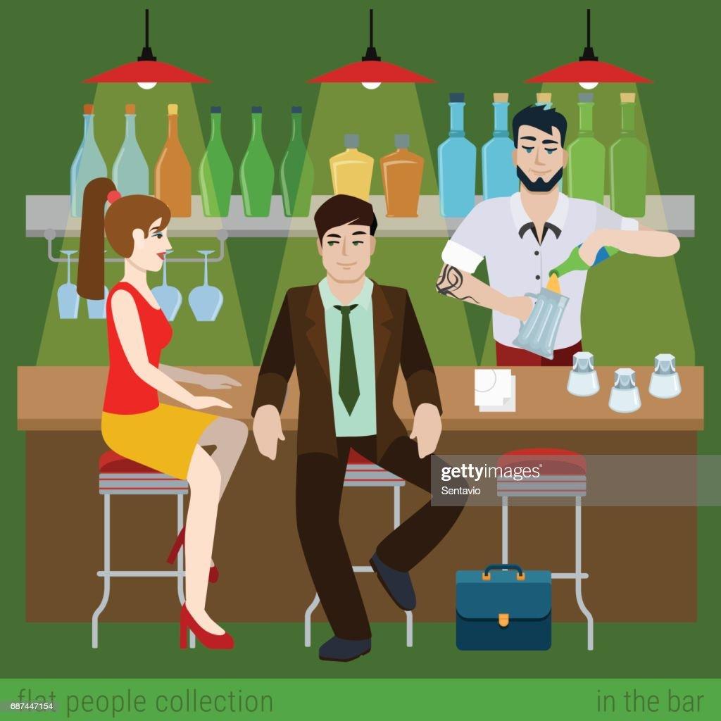 Junges Paar Männer Frauen Junge Mädchen In Der Bar Theke Und ...