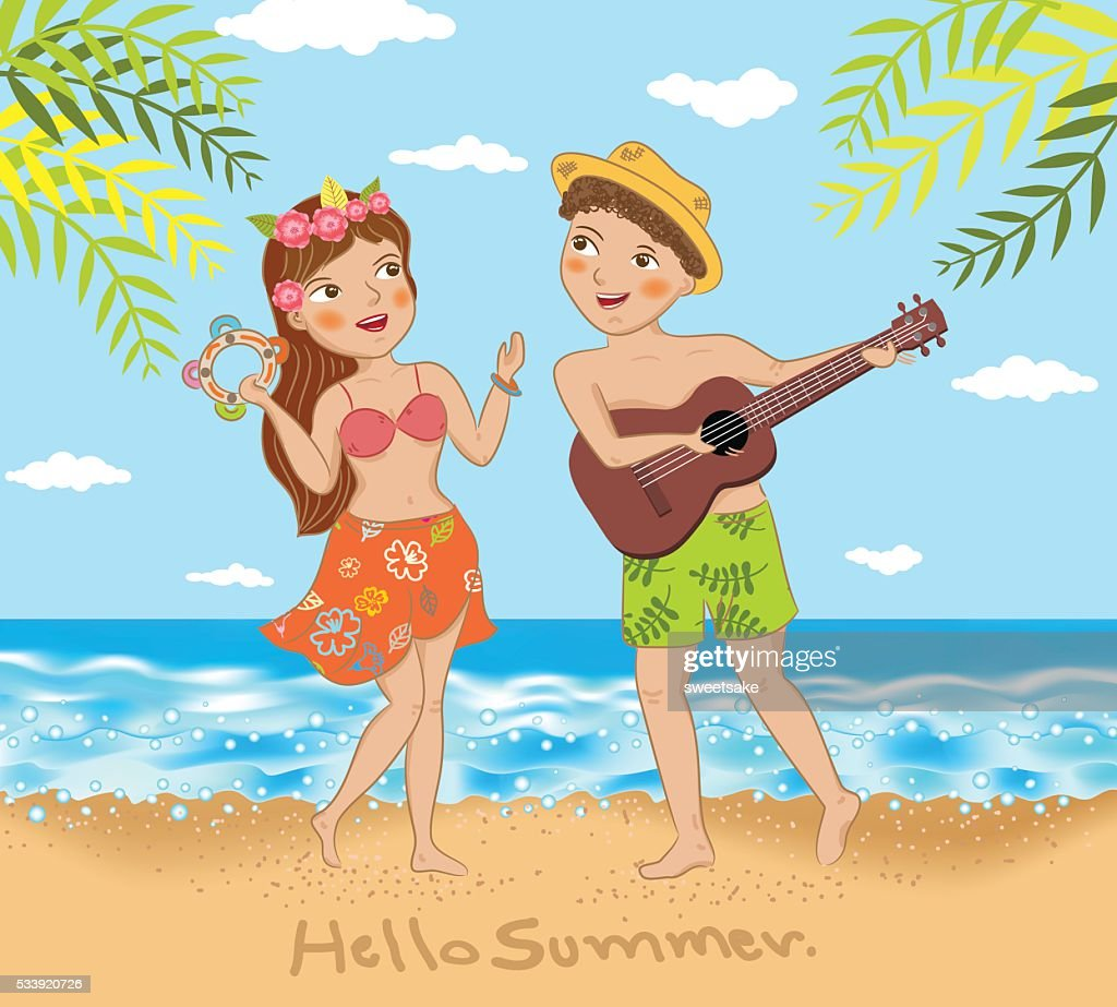 young couple singing and dancing on the beach