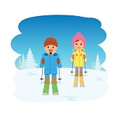 Young couple skiing.
