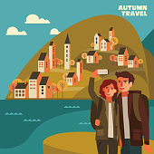Young couple taking selfie. Travel, vacation, holidays and adventure vector concept illustration. Landscape with town and hills. Poster design style