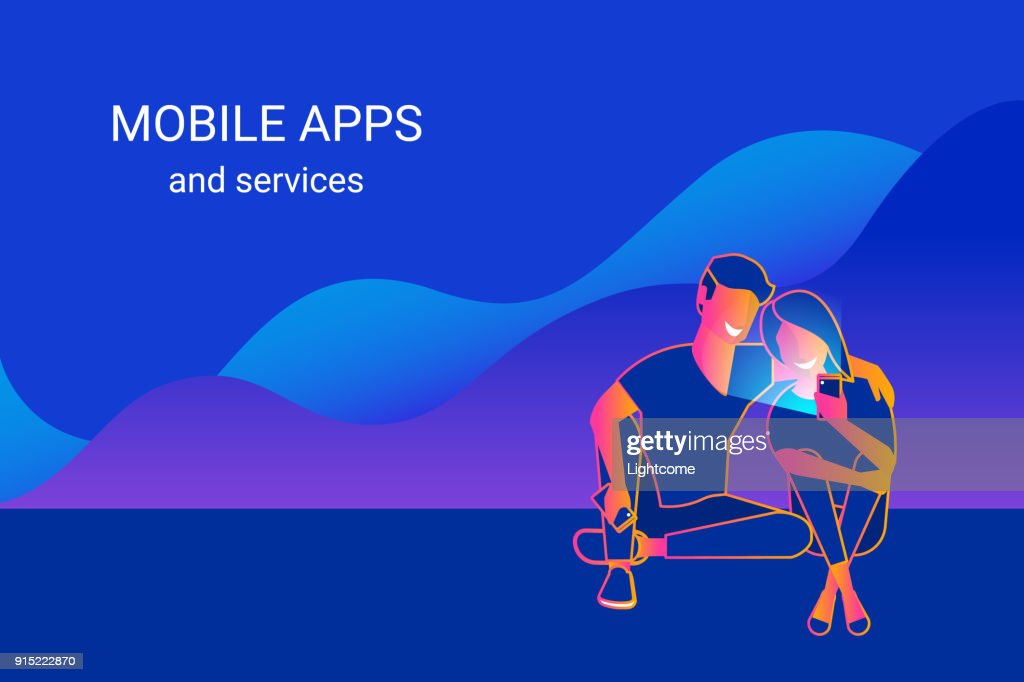 Young couple using smartphone sitting on graphs and enjoying online services, mobile apps and networks