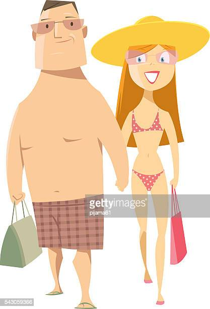 young couple - swimwear stock illustrations, clip art, cartoons, & icons
