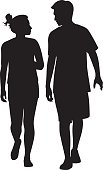Young Couple Walking and Looking at Each Other Silhouette